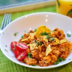 Chorizo and Eggs with Plantain Chips